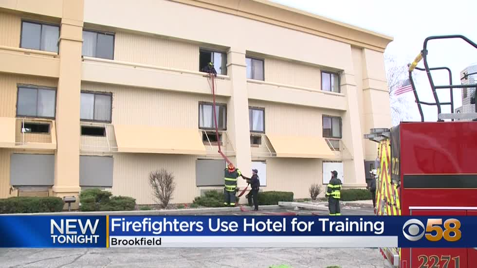 Firefighters use Brookfield hotel set for demolition for emergency...