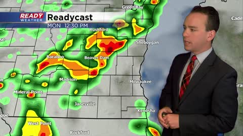 Scattered showers and strong storms for Monday