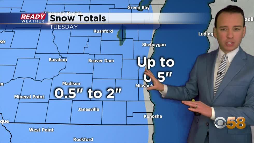 Snow to rain will impact part of the Tuesday morning commute