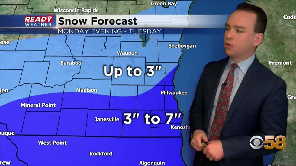 Winter weather advisory issued for Monday night snow