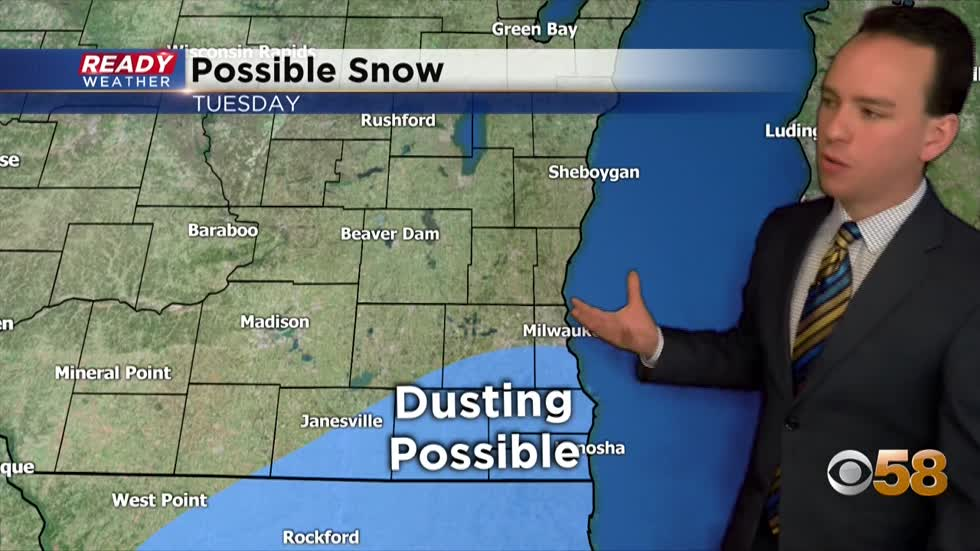 Dusting of snow possible Tuesday for some