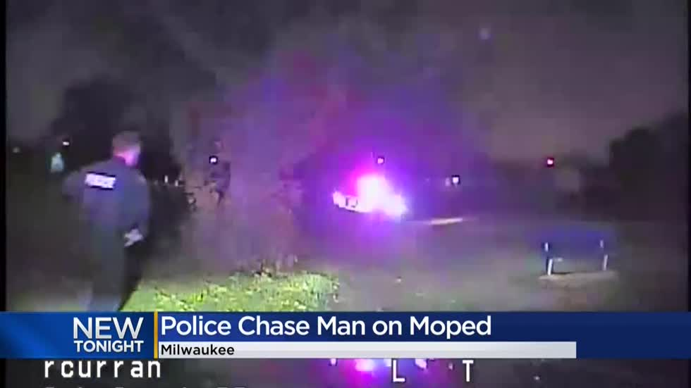 Video: Man on moped leads police on three-mile chase