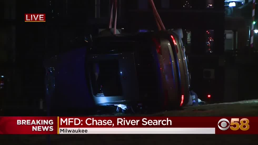 Police pursuit ends in crash along Milwaukee River; 2 rescued,...