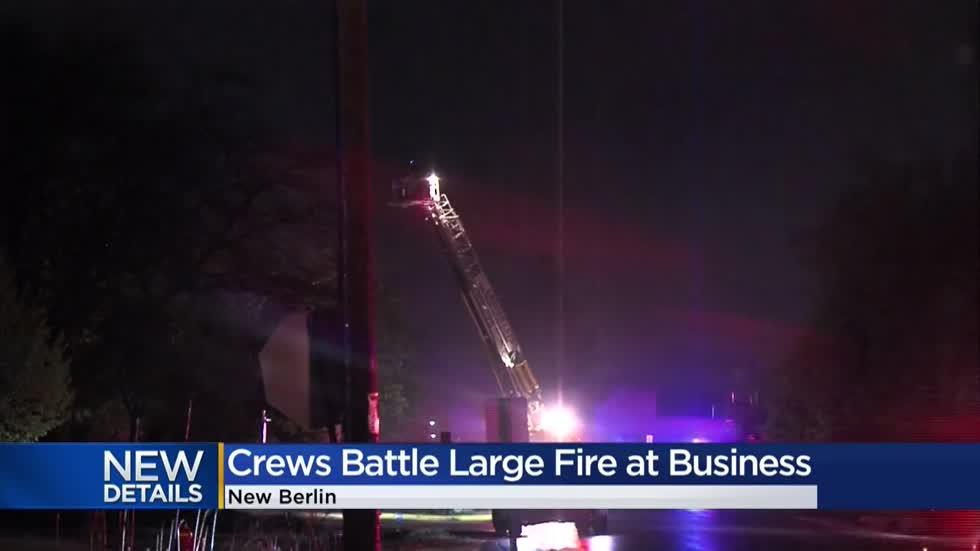 Fire crews battle large blaze at New Berlin business filled with hazardous chemicals