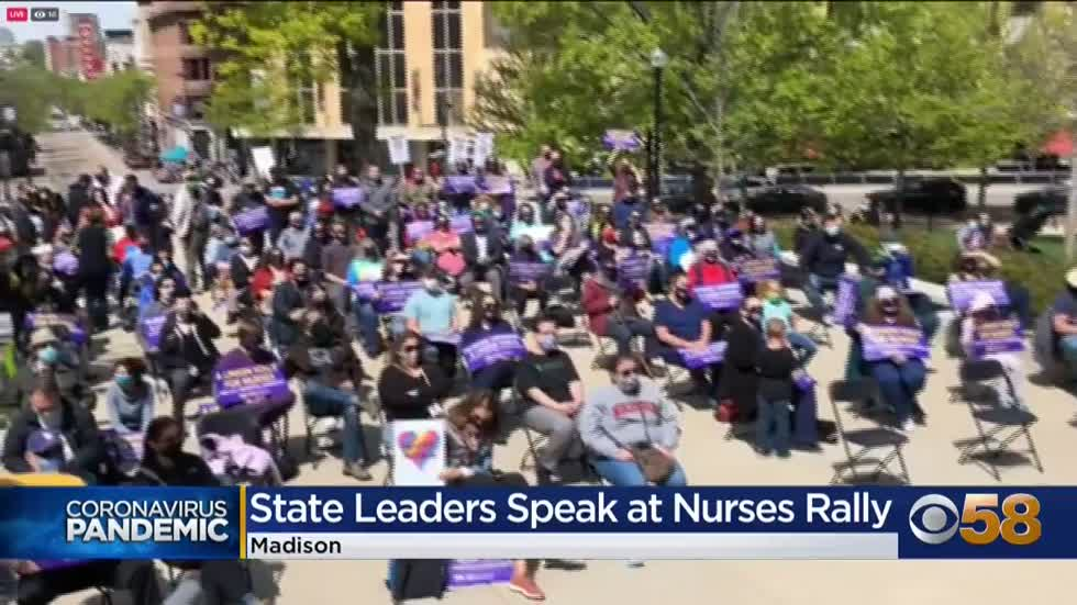 Gov. Evers, state leaders speak at nurses union rally in Madison