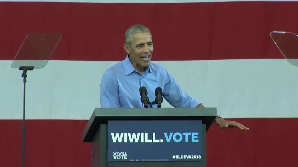 Obama takes aim at Trump, GOP in fiery Milwaukee speech