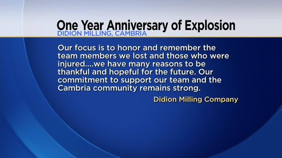 One year since deadly explosion at Didion Milling plant in Cambria