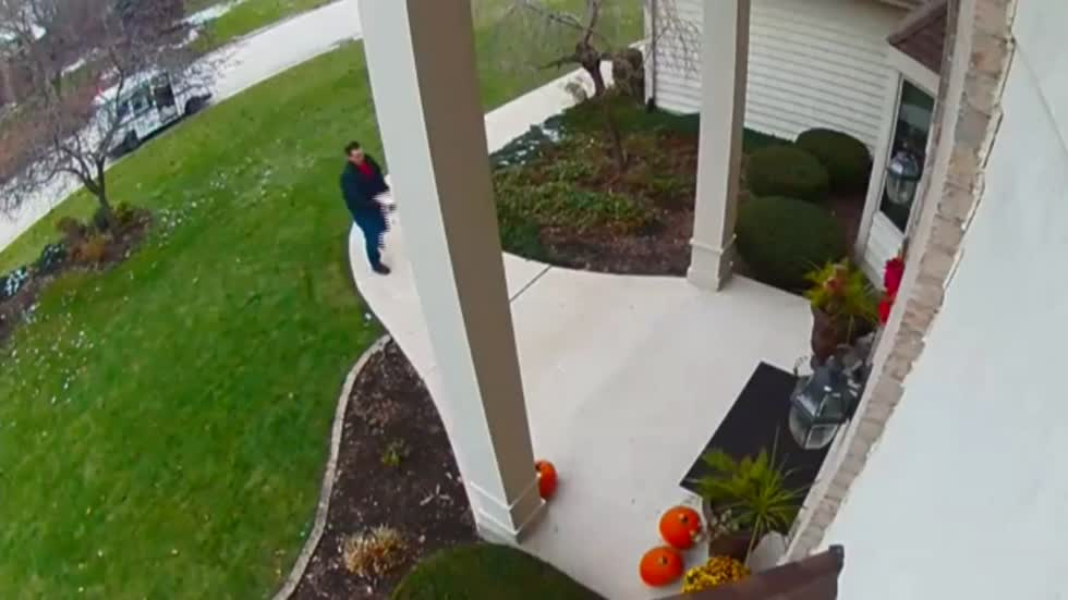 Camera captures USPS worker throwing package at house