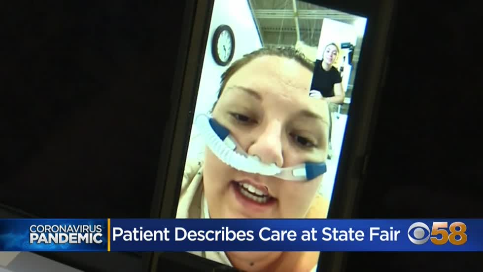 State fairgrounds COVID patient describes care and transfer