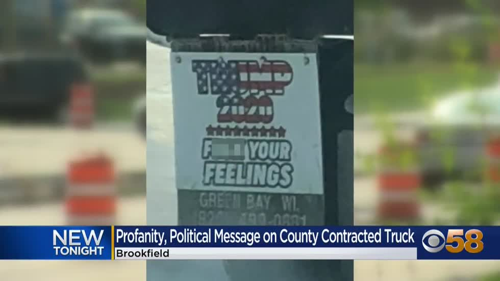 Political message with profanity displayed on truck contracted...