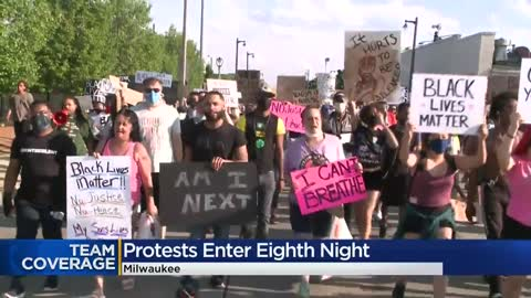 Demonstrators take over Milwaukee streets on day eight of protests