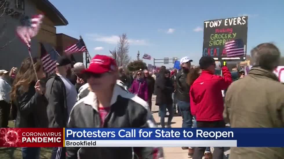 Hundreds line streets in Brookfield to protest Gov. Evers' Safer at Home order