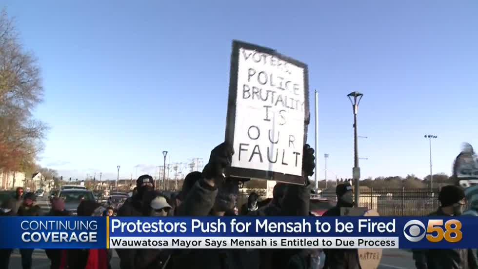 'We're still fighting for Officer Joseph Mensah to be fired:' Protesters continue to walk the streets of Wauwatosa