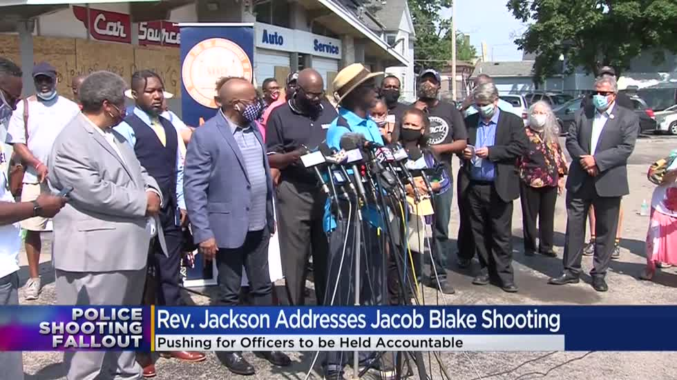 Civil rights leader Rev. Jesse Jackson speaks in Kenosha on shooting of Jacob Blake