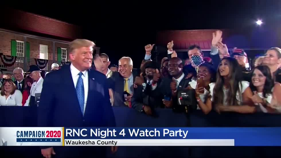 Trump campaign hosts watch party in Waukesha on final night of RNC