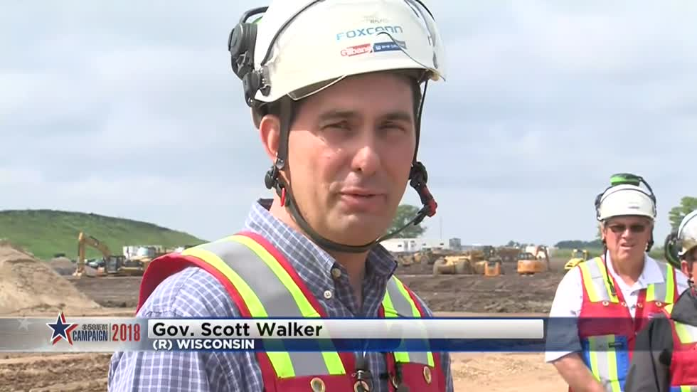 Governor Scott Walker answers questions on the campaign trail regarding Foxconn construction project