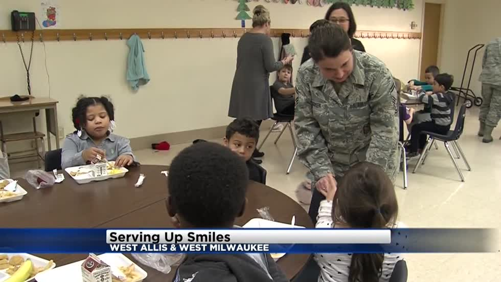 Members of 128th Air Refueling Wing serve up smiles to elementary schools