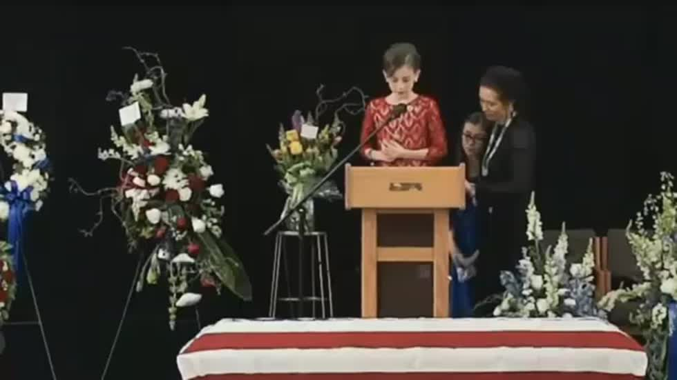 Slain Officer's Daughter Thanks All Law Enforcement at Father's Funeral