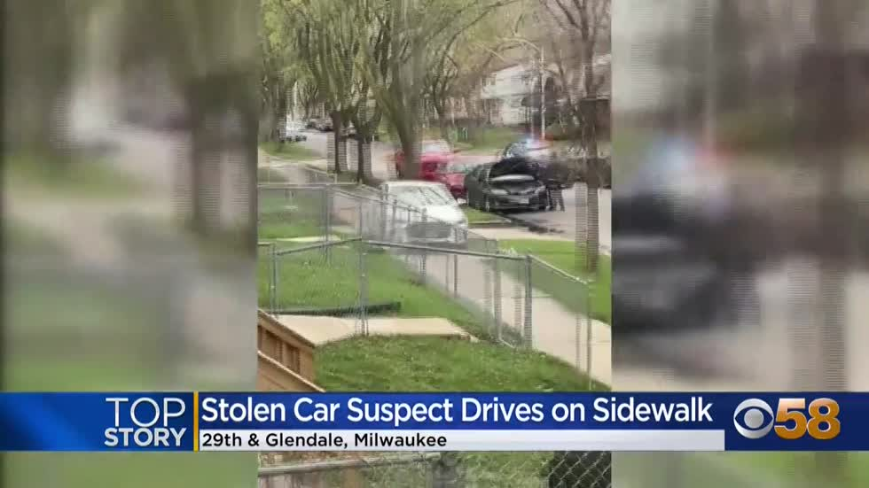 Stolen car drives on sidewalk during pursuit through Milwaukee...
