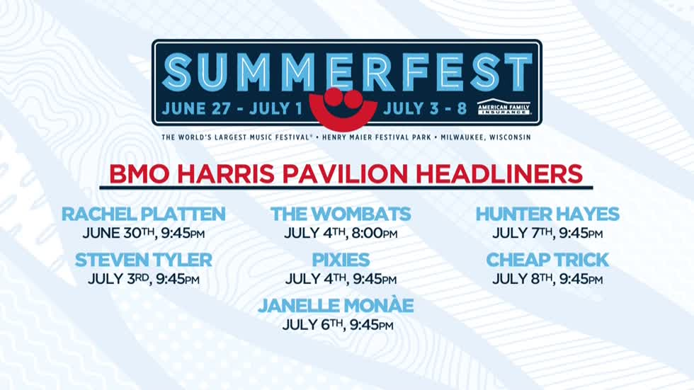 Summerfest announces BMO Harris Pavilion headliners
