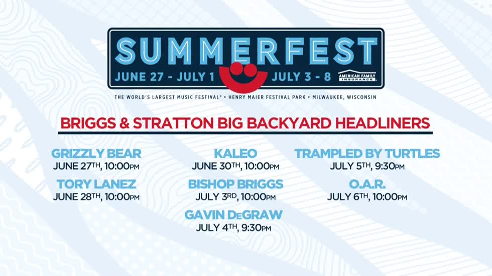 Summerfest's Briggs & Stratton Big Backyard headliners announced