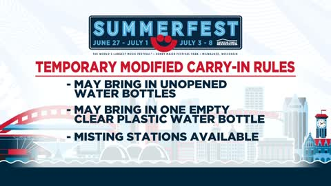 Summerfest temporarily modifying carry-in policy due to excessive heat warning