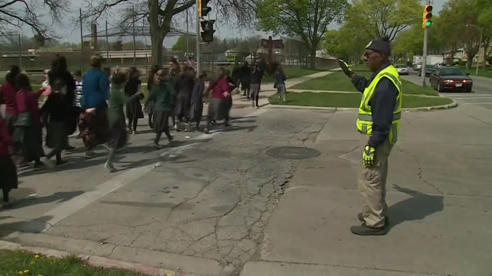 95-year old crossing guard becomes source of comfort and joy...