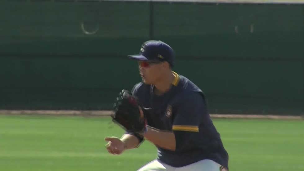 Milwaukee Brewers infielder Keston Hiura shares experiences as...