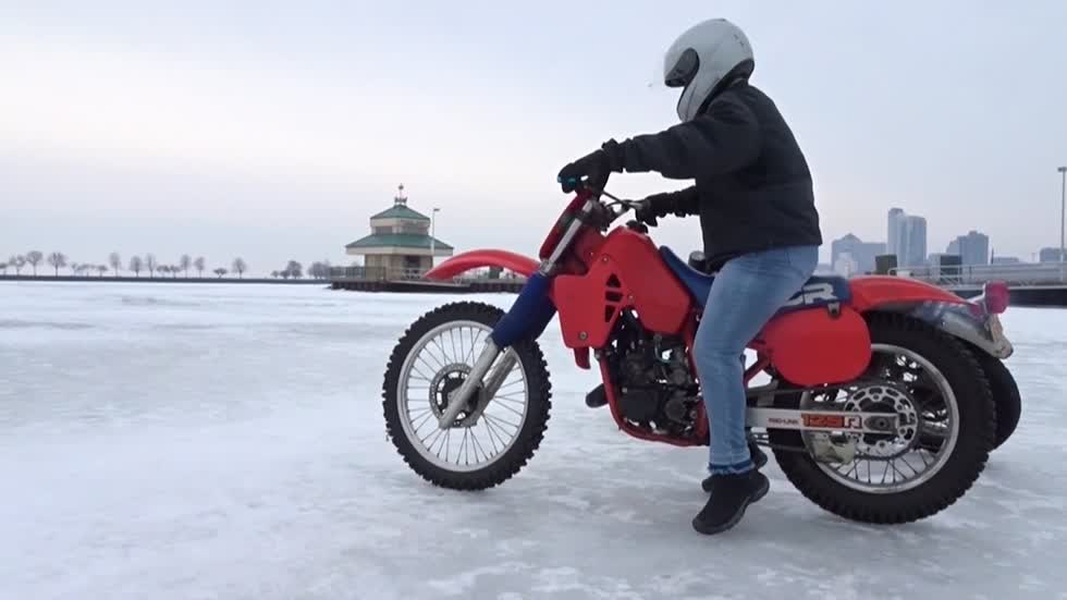 Lake ice bikers take advantage of late winter ice cover
