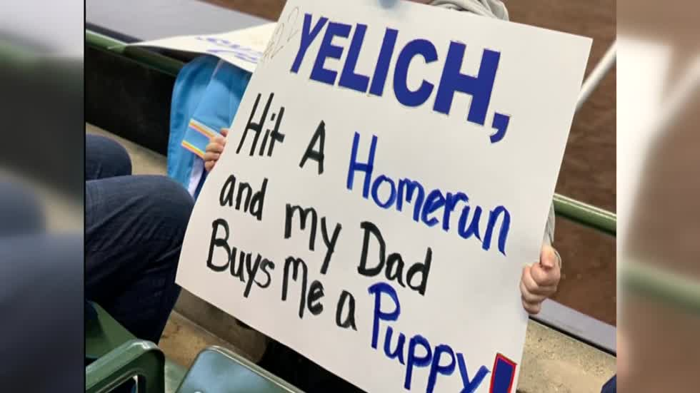 Yelich blast sends Muskego family on search for new puppy