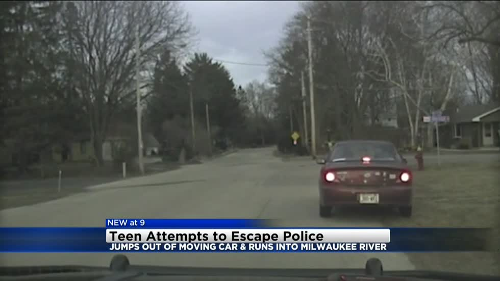 Caught on dash cam: 16-year-old boy jumps into Milwaukee River to avoid arrest