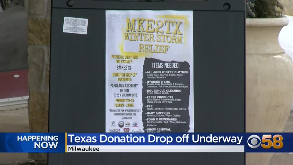 MKE2TX: Milwaukee group collecting donations, clothes and hygiene products for Texas residents
