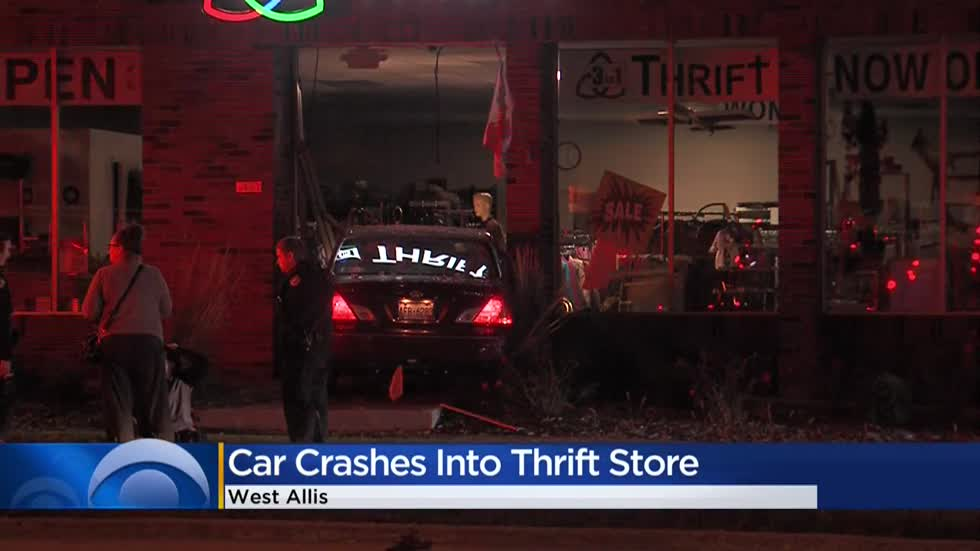 Car crashes into West Allis thrift shop near Oklahoma and Highway 100