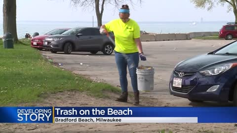 Bradford Beachgoers leave trash along Milwaukee's lakefront Memorial Day weekend