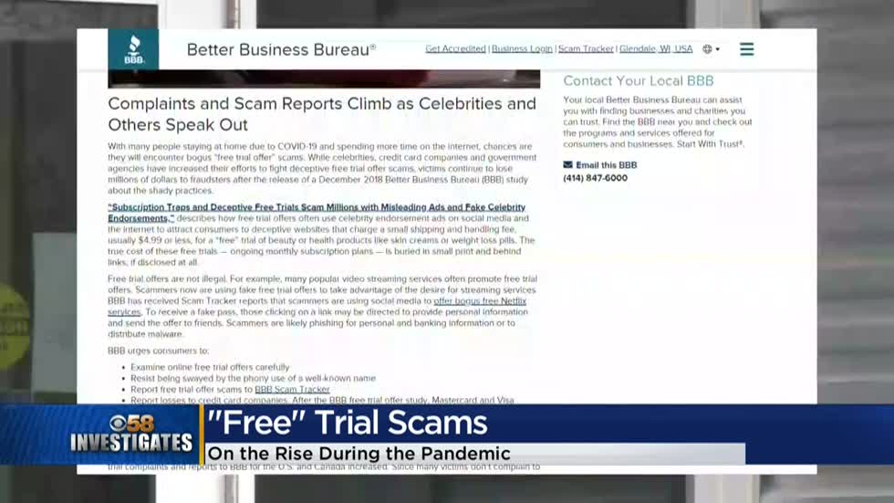 CBS 58 Special Report: Free trial scams