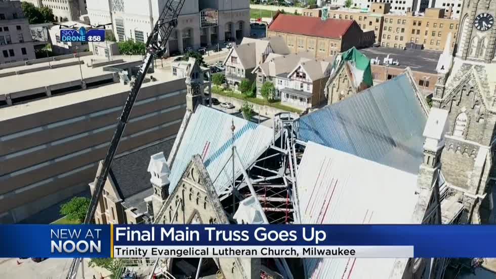 Final truss added to Trinity Lutheran Church, restoration continues after devastating fire