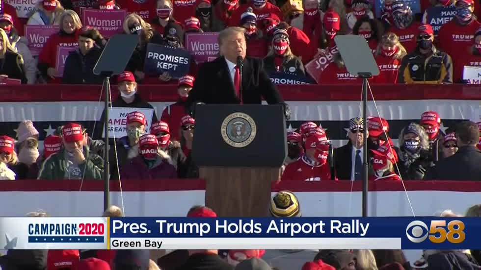President Trump holds Green Bay rally marking third Wisconsin...