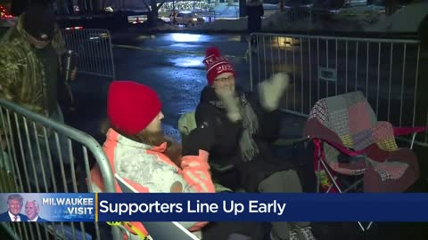 Trump supporters line up in downtown Milwaukee ahead of Tuesday's rally