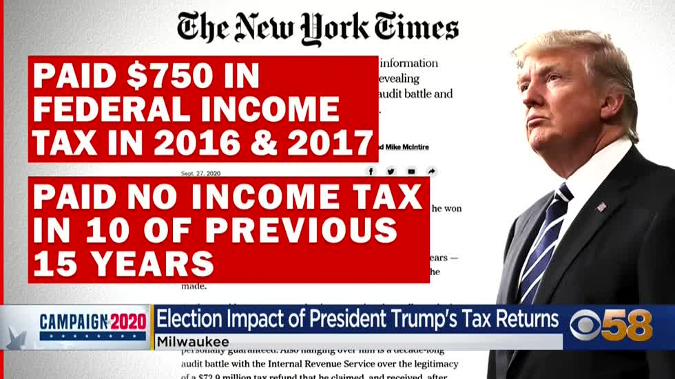 Trump paid no income taxes in 10 out of 15 years beginning in...