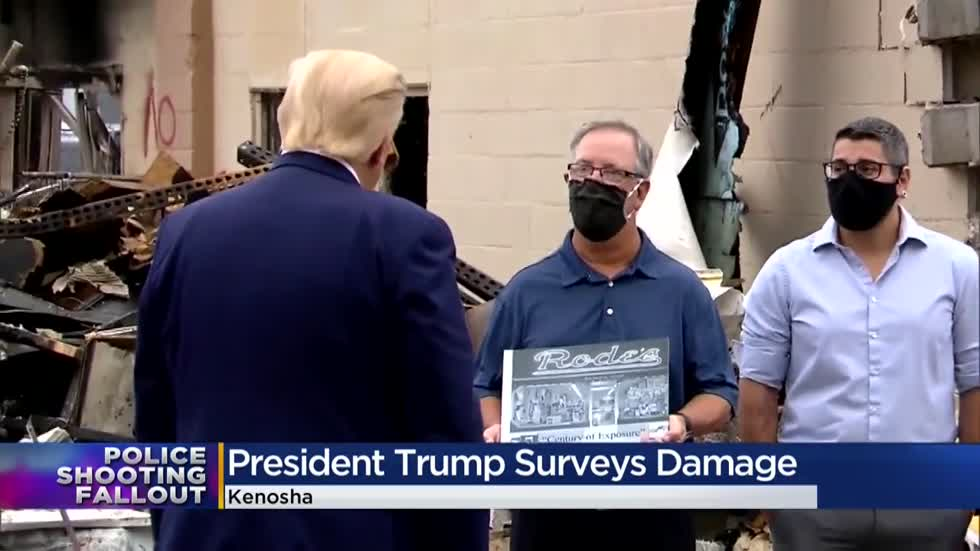 Pres. Trump surveys damage in Kenosha, announces federal support to rebuild
