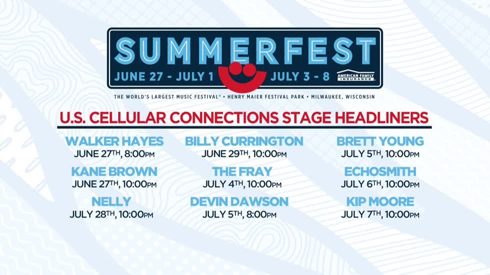 Headliners announced for Summerfest's U.S. Cellular Connection stage