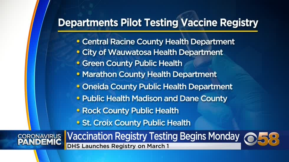 Wisconsin to launch new vaccine registry; 9 health departments to begin testing system next week