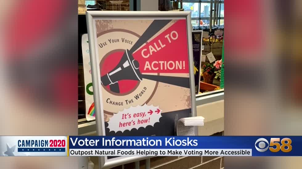 Voter information kiosks installed at four Outpost Natural Foods...