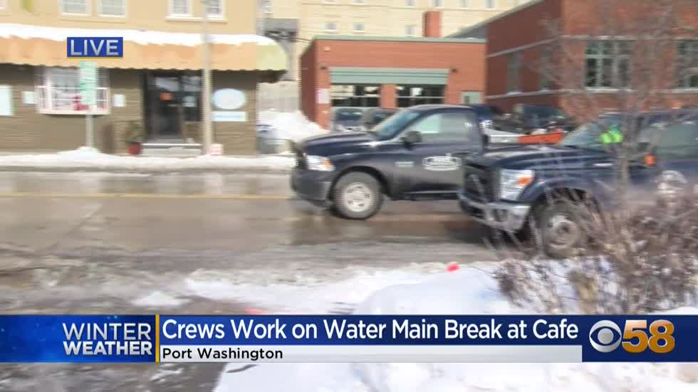 Bitter cold makes water main break repair a challenge in Port Washington