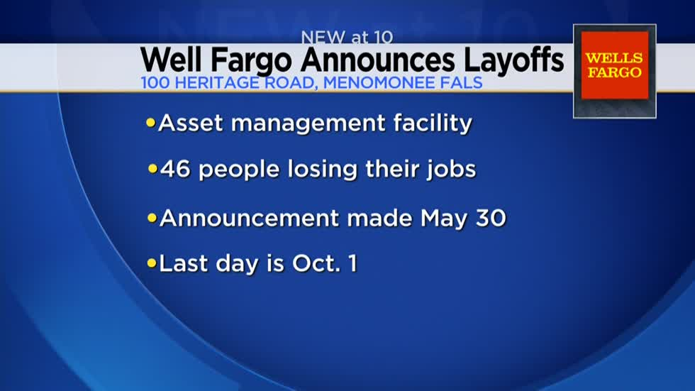 Wells-Fargo to layoff 46 people in Waukesha County