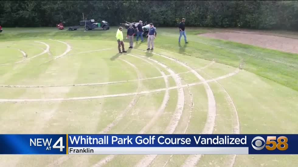 Greens at Whitnall Park Golf Course damaged by tire tracks