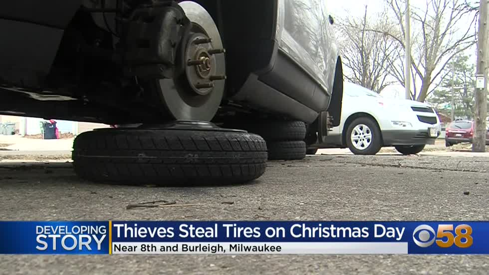 'It's just heartbreaking': Couple wakes up day after Christmas to find thieves stole tires off SUV