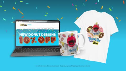 Save 10% on the new Toony Donuts T-shirt and mug for Donut Day!