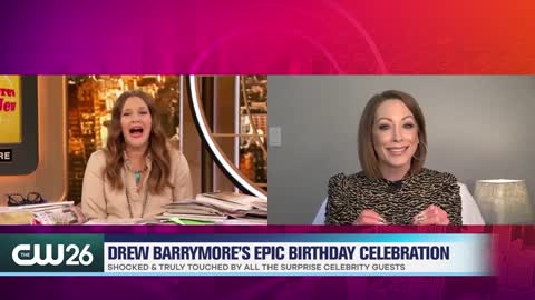 Drew Barrymore Can't Stop Crying Over Her Surprise Birthday Guests